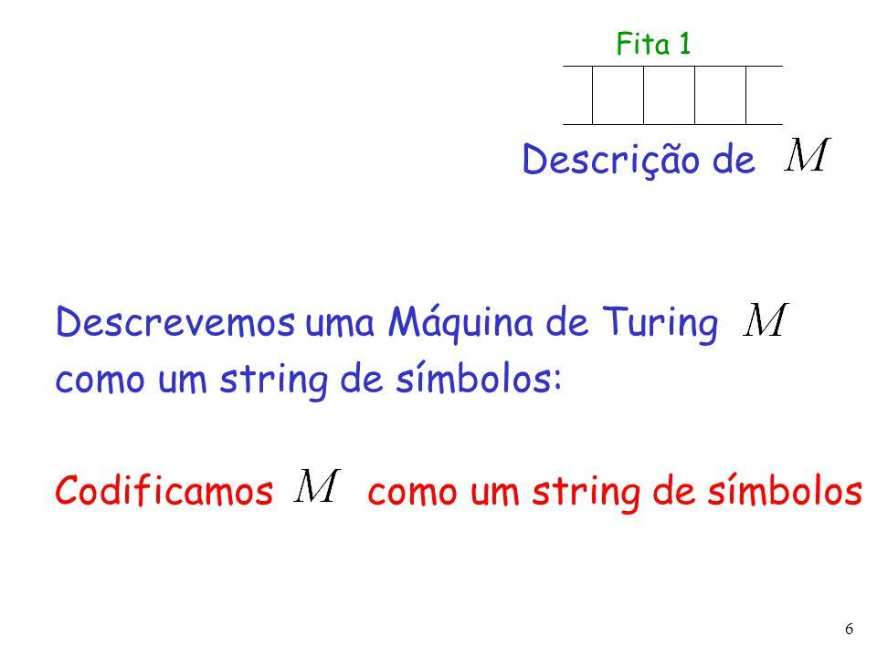 6 Descrevemos uma Máquina de Turing como um string de símbolos: Codificamos como um string de símbolos Descrição de Fita 1
