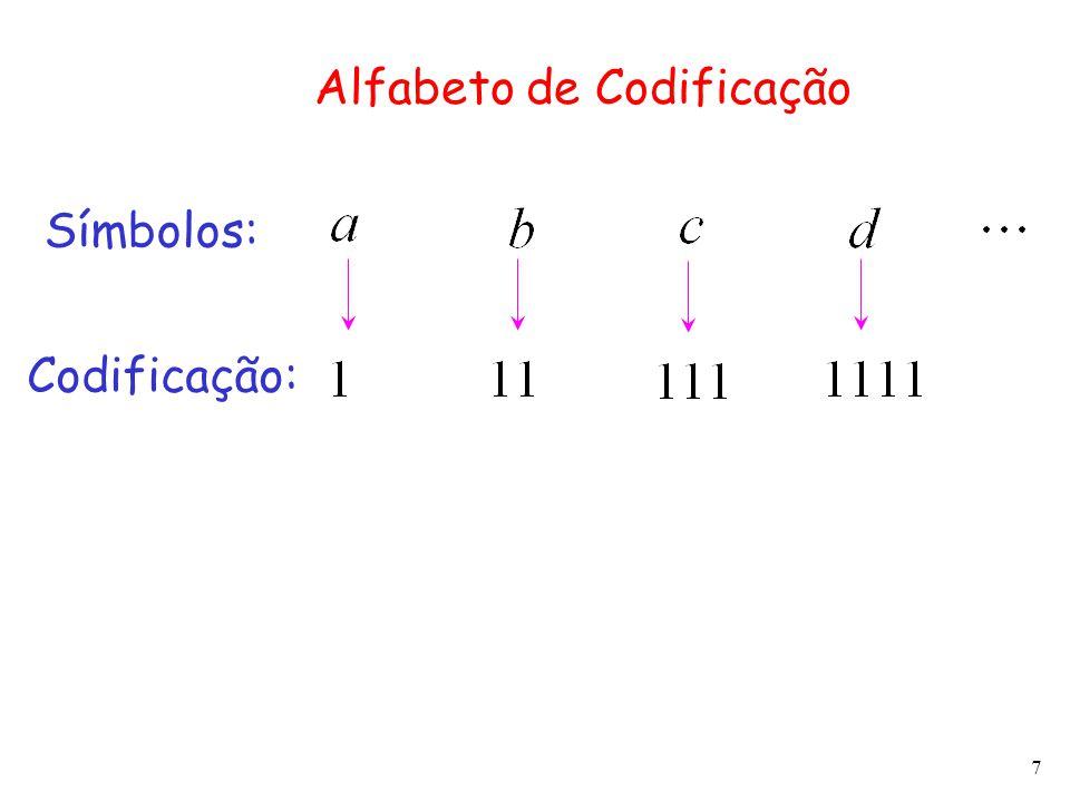 7 Alfabeto de Codificação Símbolos: Codificação: