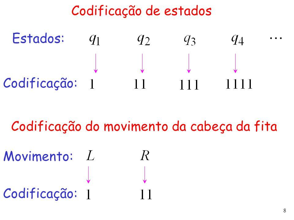 8 Codificação de estados Estados: Codificação: Codificação do movimento da cabeça da fita Movimento: Codificação: