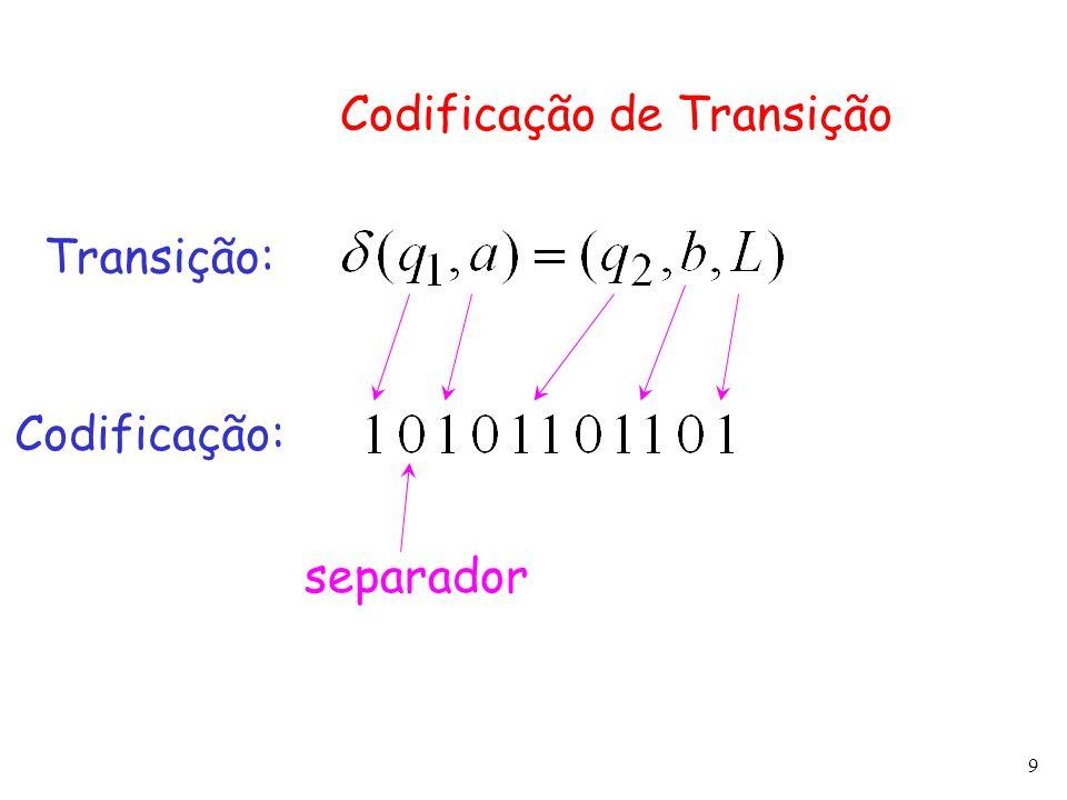 9 Codificação de Transição Transição: Codificação: separador