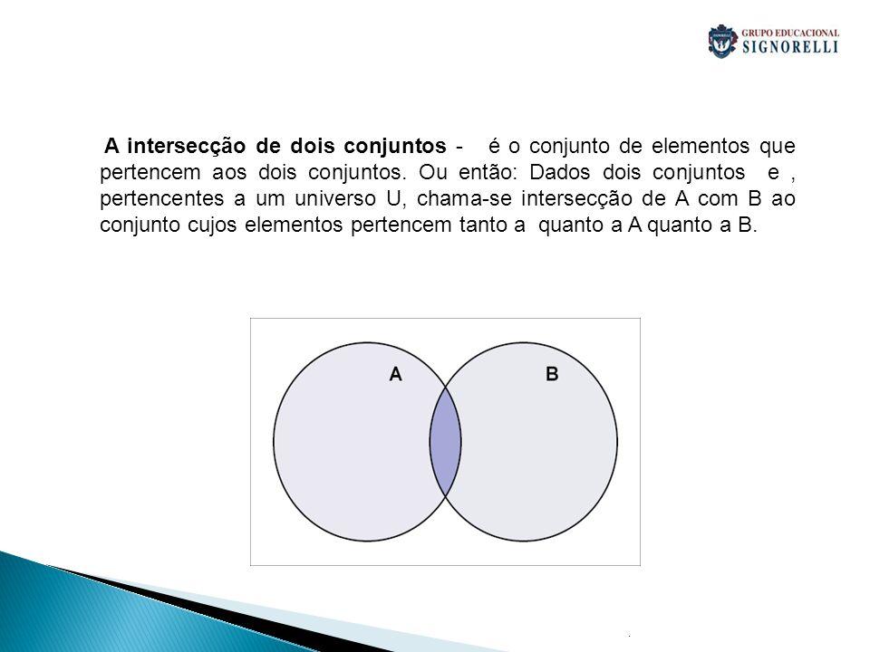 . A intersecção de dois conjuntos - é o conjunto de elementos que pertencem aos dois conjuntos. Ou então: Dados dois conjuntos e, pertencentes a um un