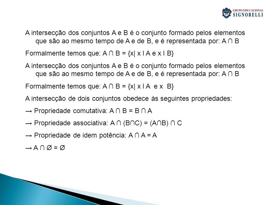 A intersecção dos conjuntos A e B é o conjunto formado pelos elementos que são ao mesmo tempo de A e de B, e é representada por: A ∩ B Formalmente tem