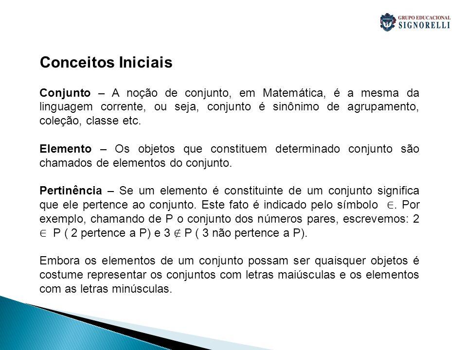 Conceitos Iniciais Conjunto – A noção de conjunto, em Matemática, é a mesma da linguagem corrente, ou seja, conjunto é sinônimo de agrupamento, coleçã