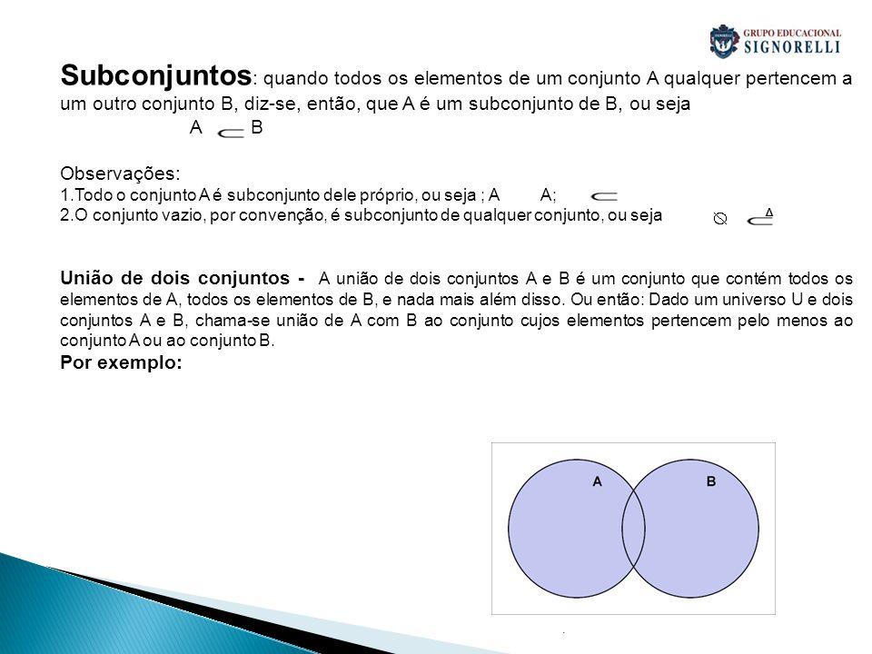 . Subconjuntos : quando todos os elementos de um conjunto A qualquer pertencem a um outro conjunto B, diz-se, então, que A é um subconjunto de B, ou s
