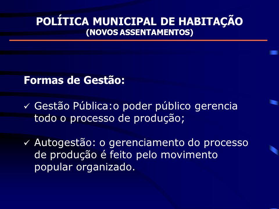 POLÍTICA MUNICIPAL DE HABITAÇÃO (NOVOS ASSENTAMENTOS) Formas de Gestão: Gestão Pública:o poder público gerencia todo o processo de produção; Autogestã