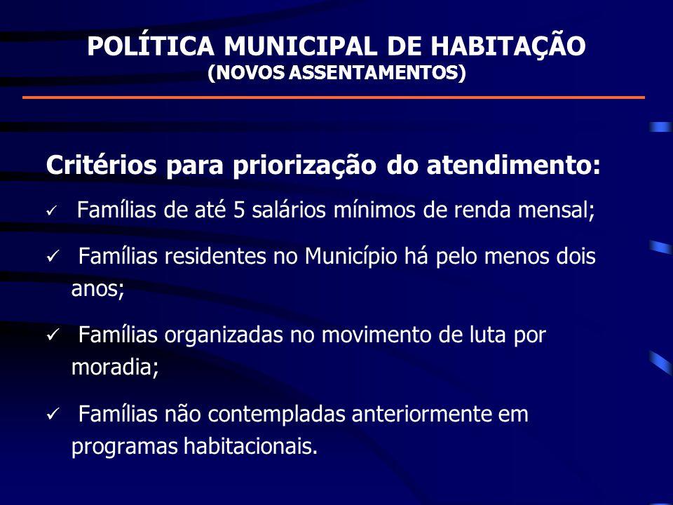 POLÍTICA MUNICIPAL DE HABITAÇÃO (NOVOS ASSENTAMENTOS) Critérios para priorização do atendimento: Famílias de até 5 salários mínimos de renda mensal; F