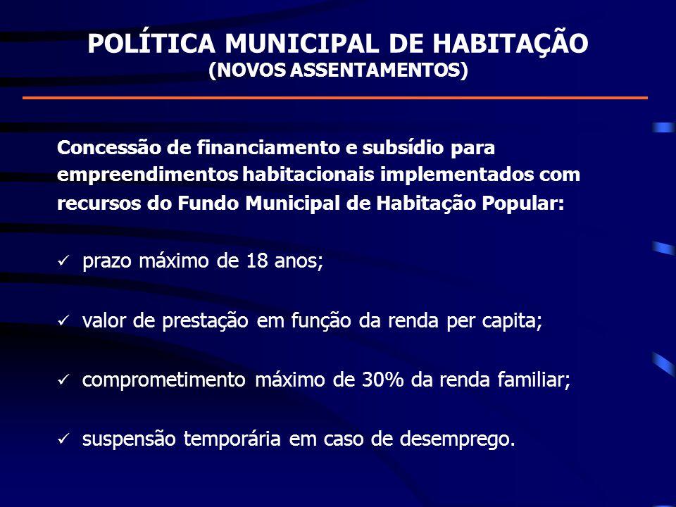 POLÍTICA MUNICIPAL DE HABITAÇÃO (NOVOS ASSENTAMENTOS) Concessão de financiamento e subsídio para empreendimentos habitacionais implementados com recur