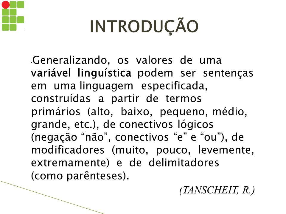 INTRODUÇÃO  Generalizando, os valores de uma variável linguística podem ser sentenças em uma linguagem especificada, construídas a partir de termos p