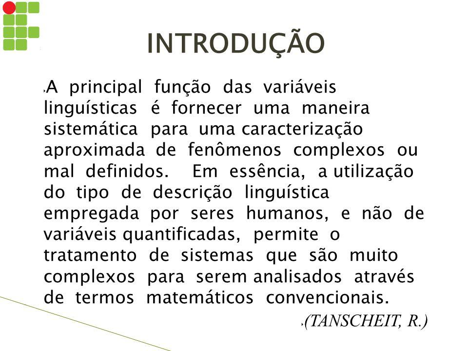 INTRODUÇÃO  A principal função das variáveis linguísticas é fornecer uma maneira sistemática para uma caracterização aproximada de fenômenos complexo