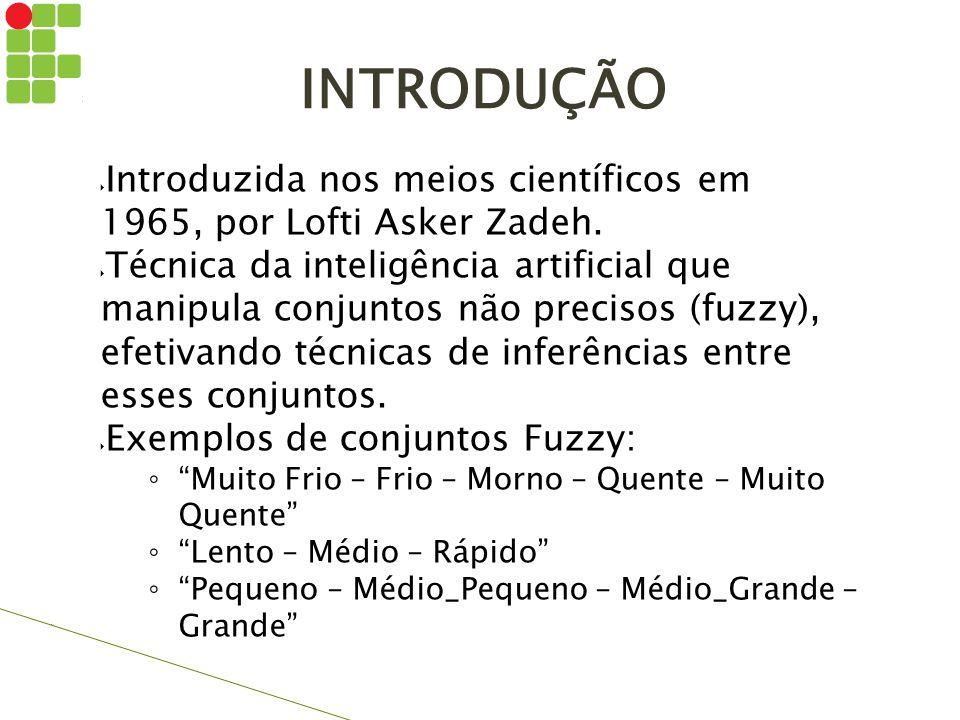 INTRODUÇÃO  Introduzida nos meios científicos em 1965, por Lofti Asker Zadeh.  Técnica da inteligência artificial que manipula conjuntos não preciso