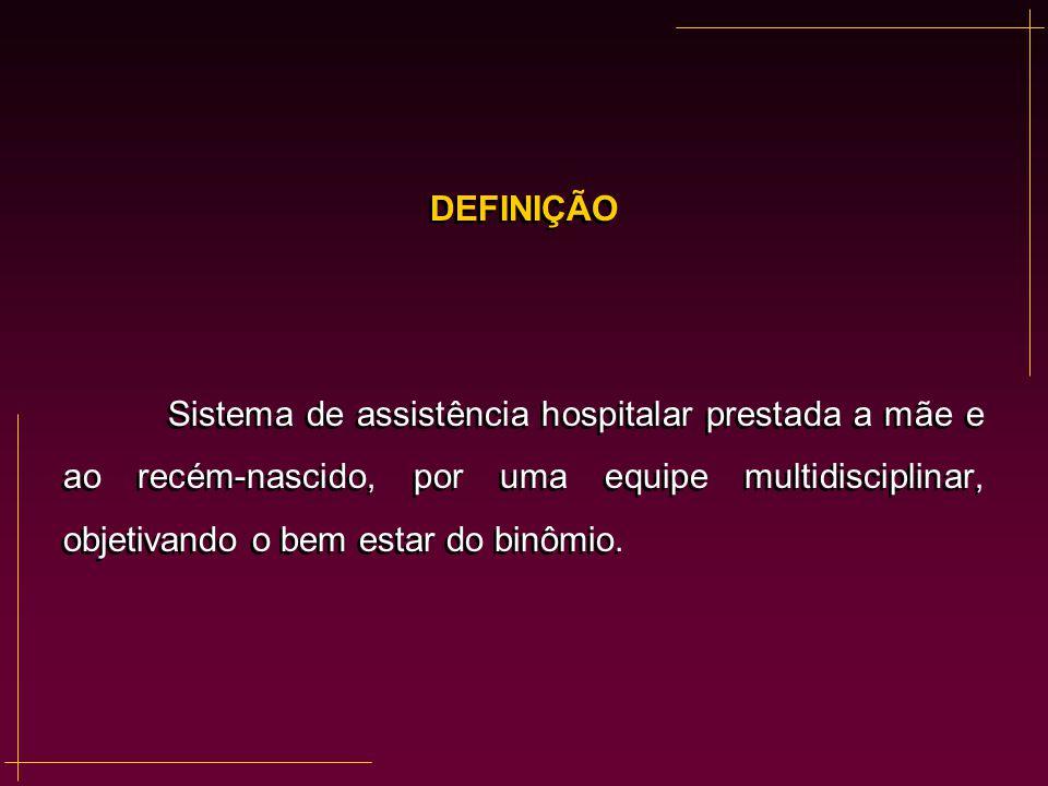DEFINIÇÃO Sistema de assistência hospitalar prestada a mãe e ao recém-nascido, por uma equipe multidisciplinar, objetivando o bem estar do binômio. DE