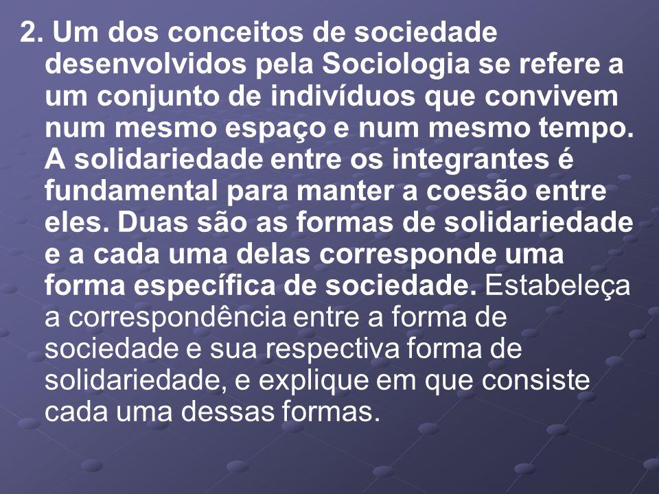 2. Um dos conceitos de sociedade desenvolvidos pela Sociologia se refere a um conjunto de indivíduos que convivem num mesmo espaço e num mesmo tempo.