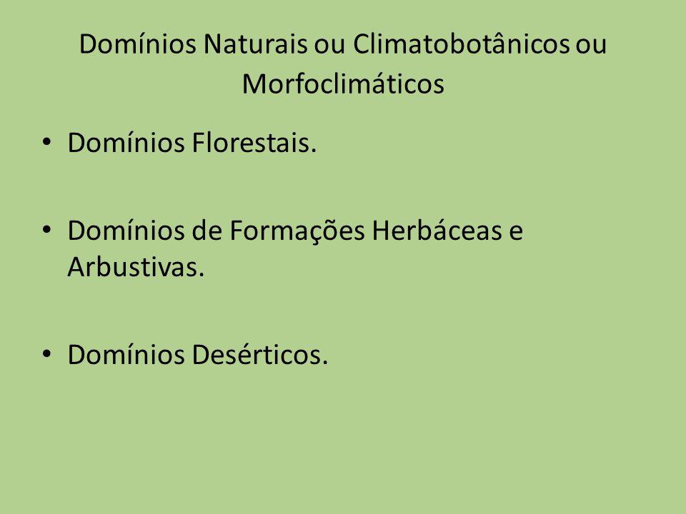 Domínios Naturais ou Climatobotânicos ou Morfoclimáticos Domínios Florestais. Domínios de Formações Herbáceas e Arbustivas. Domínios Desérticos.