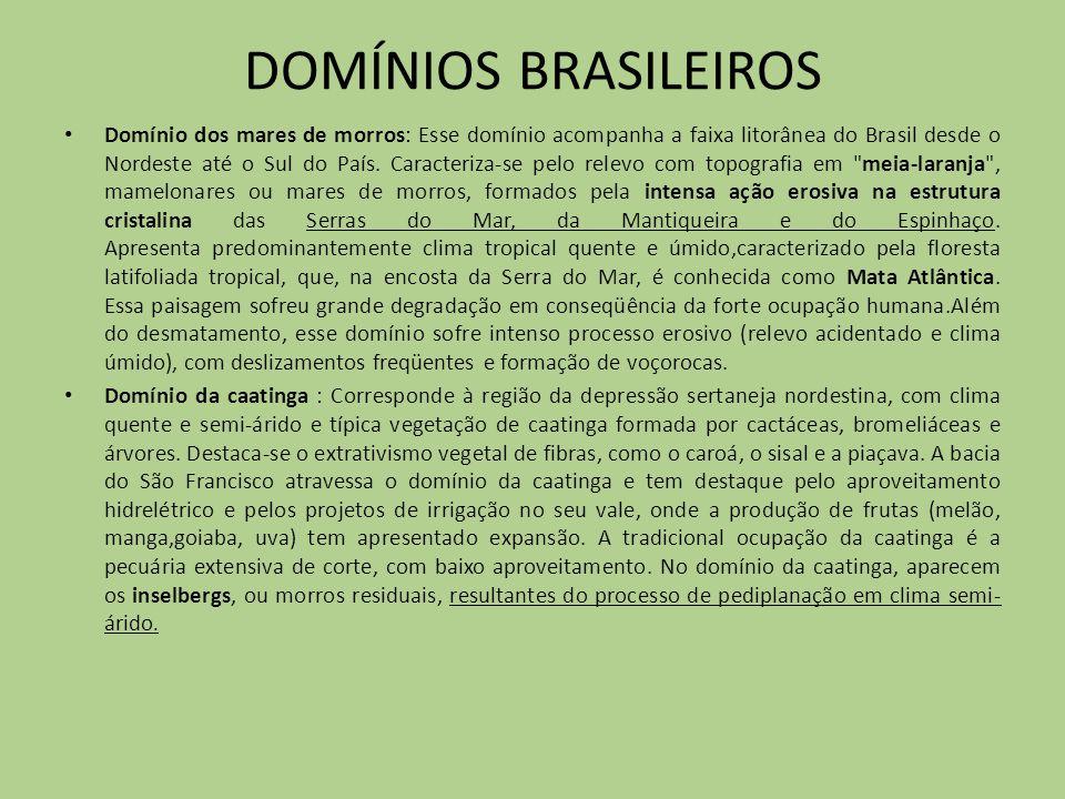 DOMÍNIOS BRASILEIROS Domínio dos mares de morros: Esse domínio acompanha a faixa litorânea do Brasil desde o Nordeste até o Sul do País. Caracteriza-s