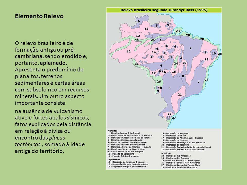 Elemento Relevo O relevo brasileiro é de formação antiga ou pré- cambriana, sendo erodido e, portanto, aplainado. Apresenta o predomínio de planaltos,