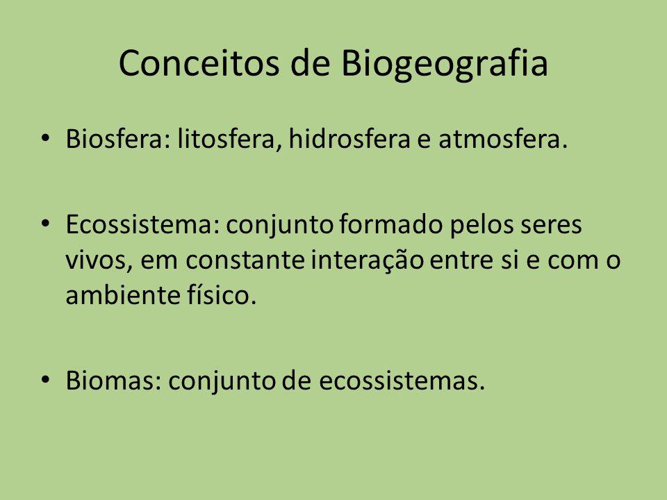 Conceitos de Biogeografia Biosfera: litosfera, hidrosfera e atmosfera. Ecossistema: conjunto formado pelos seres vivos, em constante interação entre s