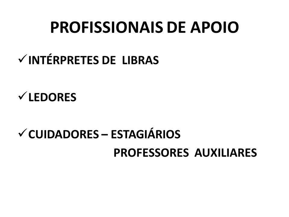 PROFISSIONAIS DE APOIO INTÉRPRETES DE LIBRAS LEDORES CUIDADORES – ESTAGIÁRIOS PROFESSORES AUXILIARES