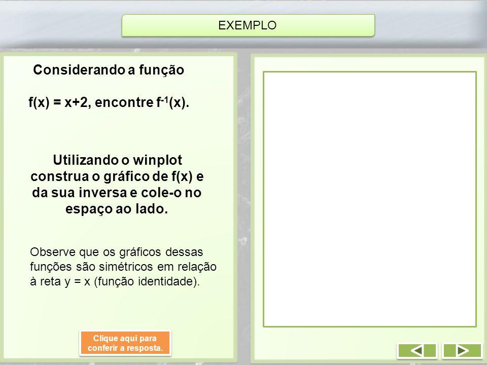 EXEMPLO Considerando a função f(x) = x+2, encontre f -1 (x). Utilizando o winplot construa o gráfico de f(x) e da sua inversa e cole-o no espaço ao la
