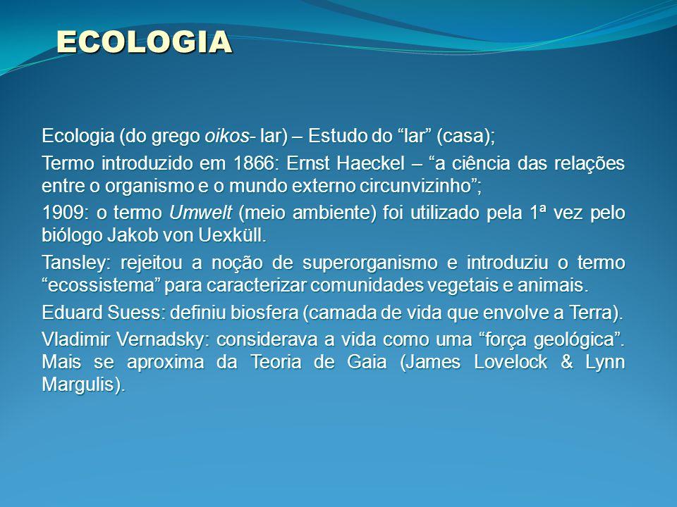 ECOLOGIA Ecologia (do grego oikos- lar) – Estudo do lar (casa); Termo introduzido em 1866: Ernst Haeckel – a ciência das relações entre o organismo e o mundo externo circunvizinho ; 1909: o termo Umwelt (meio ambiente) foi utilizado pela 1ª vez pelo biólogo Jakob von Uexküll.