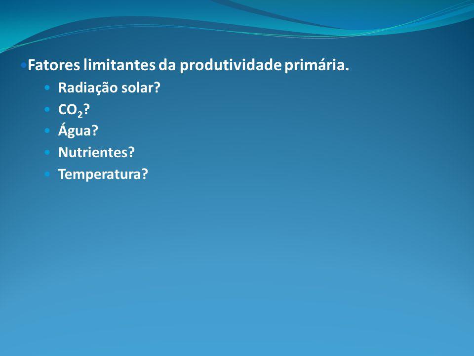 Fatores limitantes da produtividade primária. Radiação solar? CO 2 ? Água? Nutrientes? Temperatura?