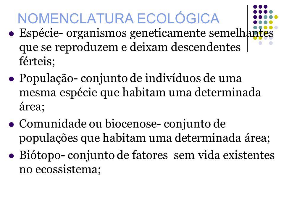 NOMENCLATURA ECOLÓGICA Espécie- organismos geneticamente semelhantes que se reproduzem e deixam descendentes férteis; População- conjunto de indivíduo