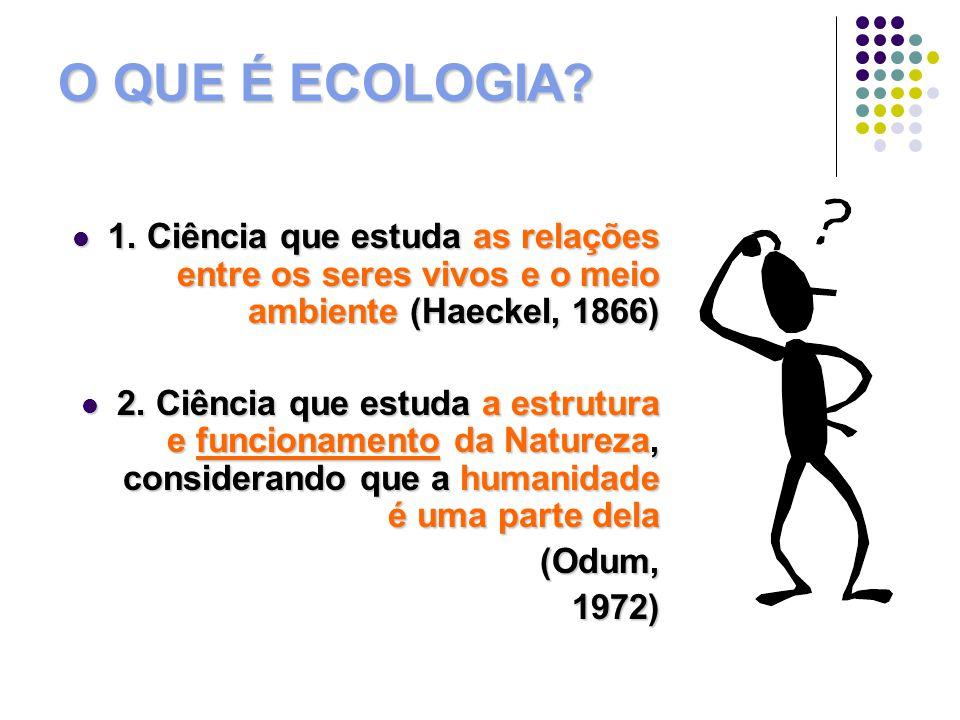 ECOLOGIA 3.Ciência que estuda a economia da natureza (Oíkos + Nomos) (Haeckel) 3.