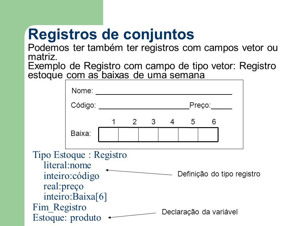 Registros de conjuntos Podemos ter também ter registros com campos vetor ou matriz.