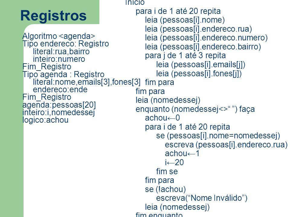 Registros Algoritmo Tipo endereco: Registro literal:rua,bairro inteiro:numero Fim_Registro Tipo agenda : Registro literal:nome,emails[3],fones[3] endereco:ende Fim_Registro agenda:pessoas[20] inteiro:i,nomedessej logico:achou Início para i de 1 até 20 repita leia (pessoas[i].nome) leia (pessoas[i].endereco.rua) leia (pessoas[i].endereco.numero) leia (pessoas[i].endereco.bairro) para j de 1 até 3 repita leia (pessoas[i].emails[j]) leia (pessoas[i].fones[j]) fim para leia (nomedessej) enquanto (nomedessej<> ) faça achou←0 para i de 1 até 20 repita se (pessoas[i].nome=nomedessej) escreva (pessoas[i].endereco.rua) achou←1 i←20 fim se fim para se (!achou) escreva( Nome Inválido ) leia (nomedessej) fim enquanto Fim