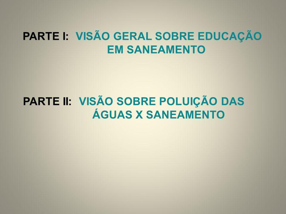 PARTE I: VISÃO GERAL SOBRE EDUCAÇÃO EM SANEAMENTO PARTE II: VISÃO SOBRE POLUIÇÃO DAS ÁGUAS X SANEAMENTO