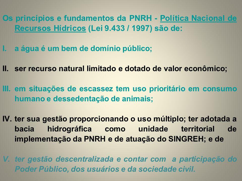 Os princípios e fundamentos da PNRH - Política Nacional de Recursos Hídricos (Lei 9.433 / 1997) são de: I.a água é um bem de domínio público; II.ser r