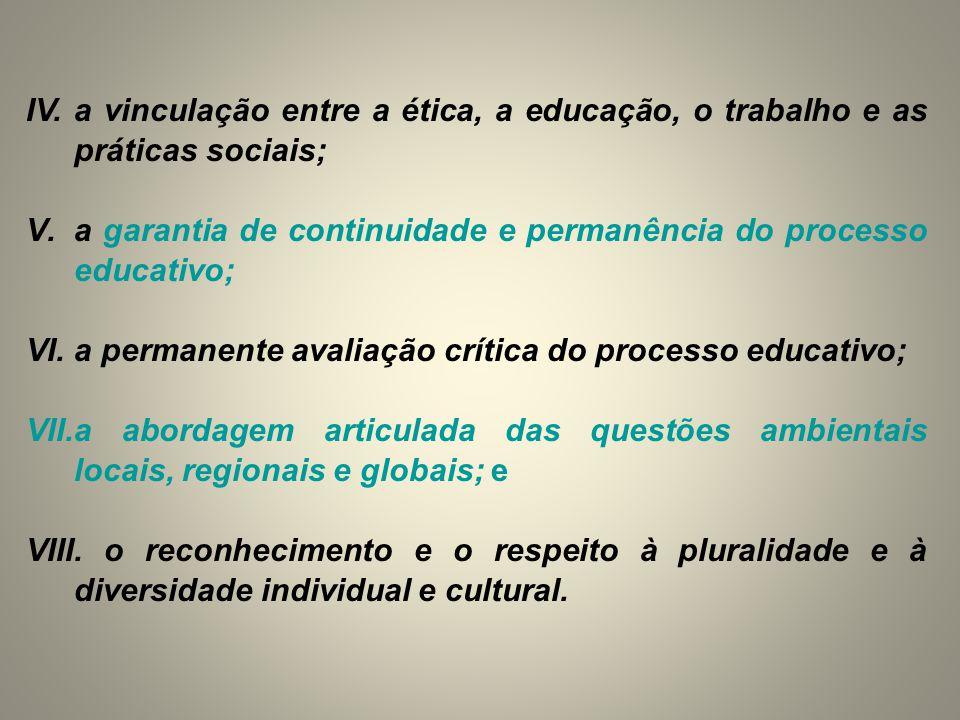 IV. a vinculação entre a ética, a educação, o trabalho e as práticas sociais; V.a garantia de continuidade e permanência do processo educativo; VI.a p