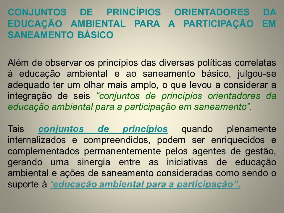 CONJUNTOS DE PRINCÍPIOS ORIENTADORES DA EDUCAÇÃO AMBIENTAL PARA A PARTICIPAÇÃO EM SANEAMENTO BÁSICO Além de observar os princípios das diversas políti