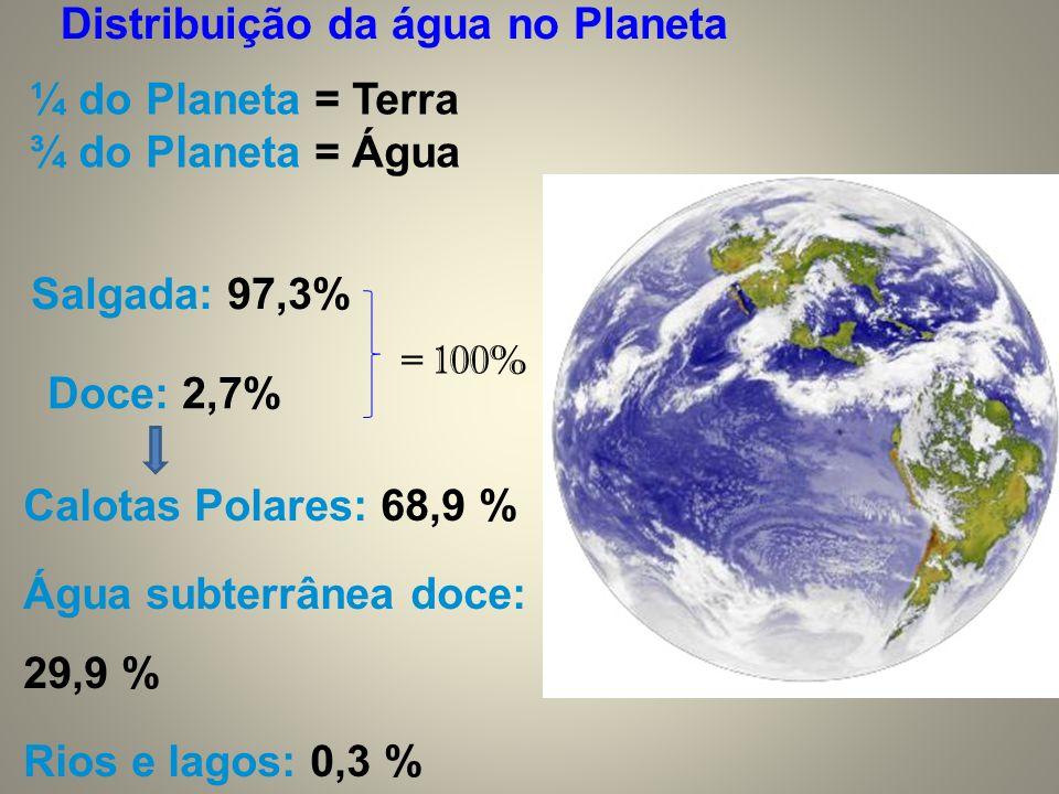 Doce: 2,7% Calotas Polares: 68,9 % Água subterrânea doce: 29,9 % Rios e lagos: 0,3 % Outros: 0,9% ¼ do Planeta = Terra ¾ do Planeta = Água Salgada: 97