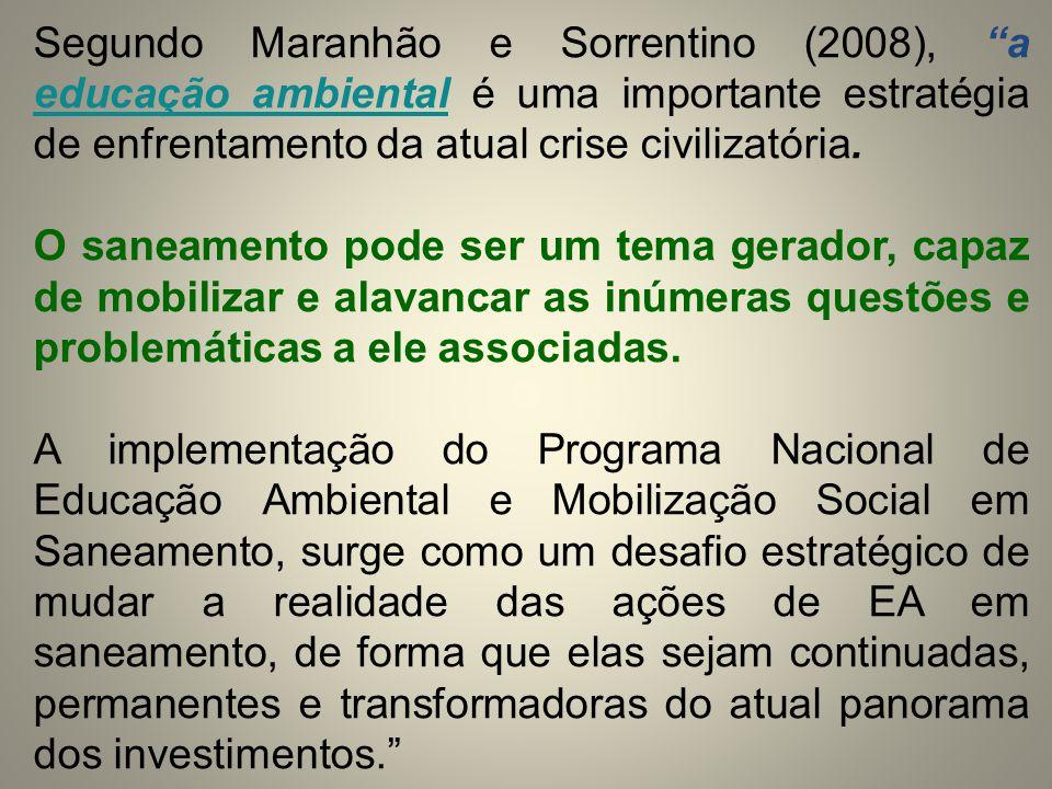 """Segundo Maranhão e Sorrentino (2008), """"a educação ambiental é uma importante estratégia de enfrentamento da atual crise civilizatória. O saneamento po"""