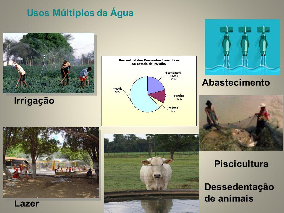 Abastecimento Piscicultura Lazer Usos Múltiplos da Água Irrigação Dessedentação de animais