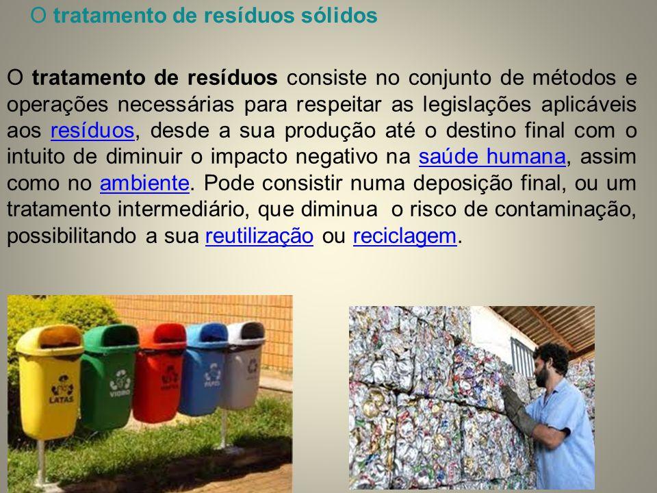 O tratamento de resíduos consiste no conjunto de métodos e operações necessárias para respeitar as legislações aplicáveis aos resíduos, desde a sua pr
