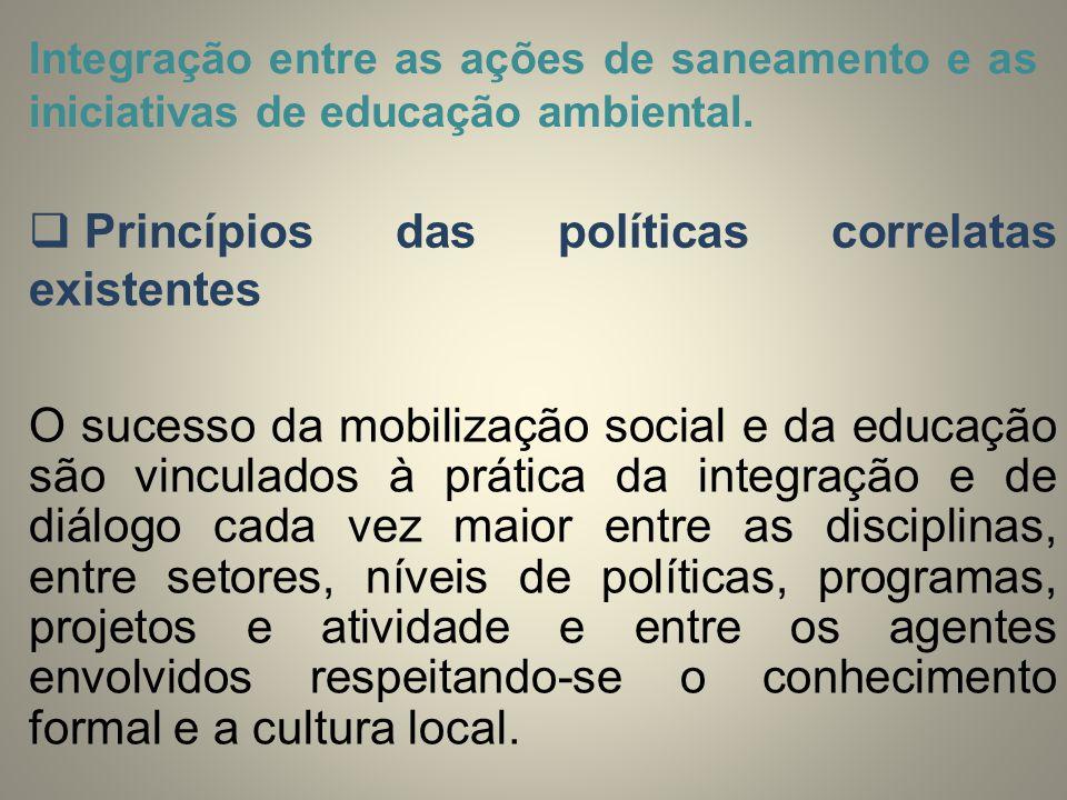 Integração entre as ações de saneamento e as iniciativas de educação ambiental.  Princípios das políticas correlatas existentes O sucesso da mobiliza
