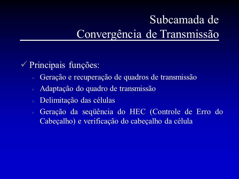 Subcamada de Convergência de Transmissão Principais funções:  Geração e recuperação de quadros de transmissão  Adaptação do quadro de transmissão 