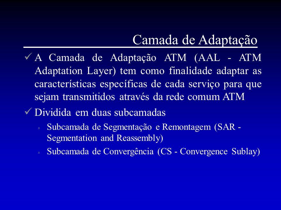 Camada de Adaptação A Camada de Adaptação ATM (AAL - ATM Adaptation Layer) tem como finalidade adaptar as características específicas de cada serviço