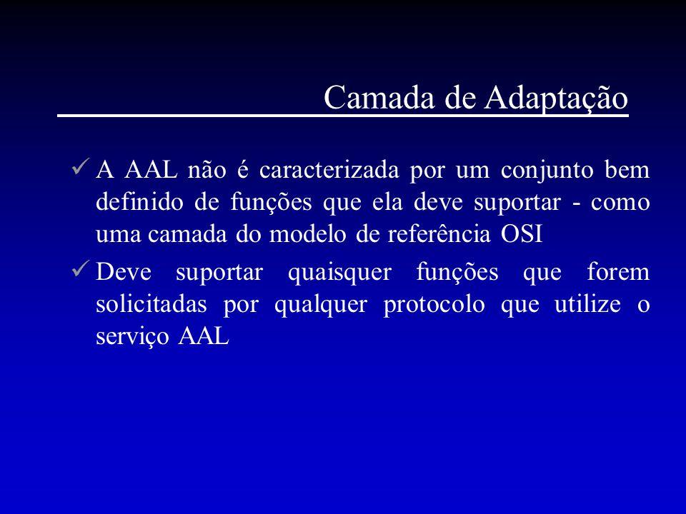 Camada de Adaptação A AAL não é caracterizada por um conjunto bem definido de funções que ela deve suportar - como uma camada do modelo de referência
