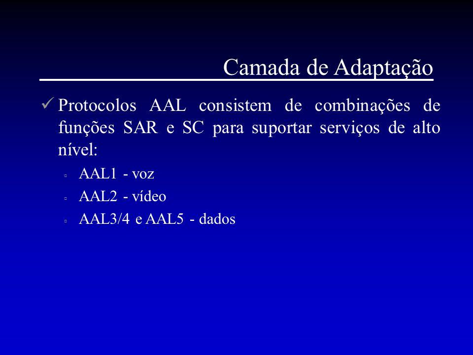 Camada de Adaptação Protocolos AAL consistem de combinações de funções SAR e SC para suportar serviços de alto nível:  AAL1 - voz  AAL2 - vídeo  AA
