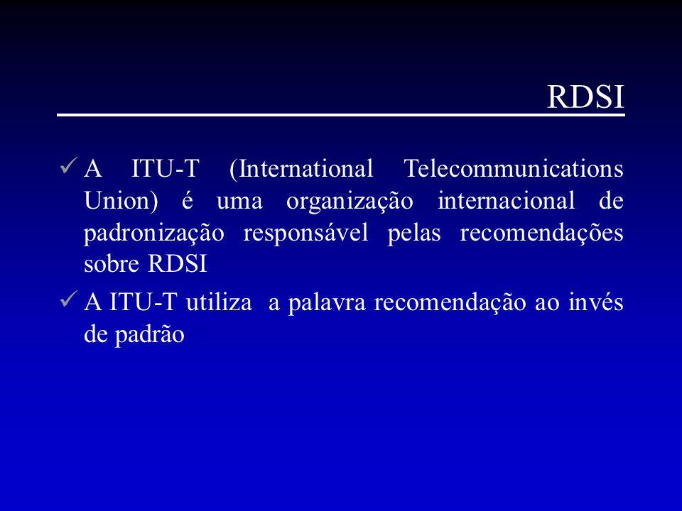 RDSI A ITU-T (International Telecommunications Union) é uma organização internacional de padronização responsável pelas recomendações sobre RDSI A ITU
