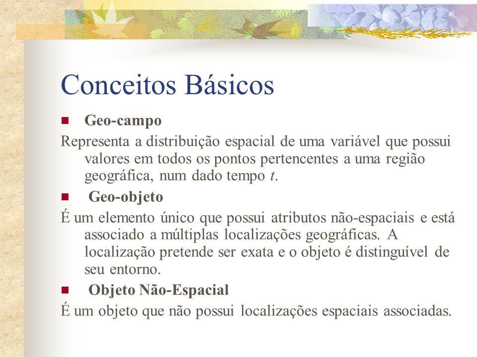 Conceitos Básicos Geo-campo Representa a distribuição espacial de uma variável que possui valores em todos os pontos pertencentes a uma região geográf