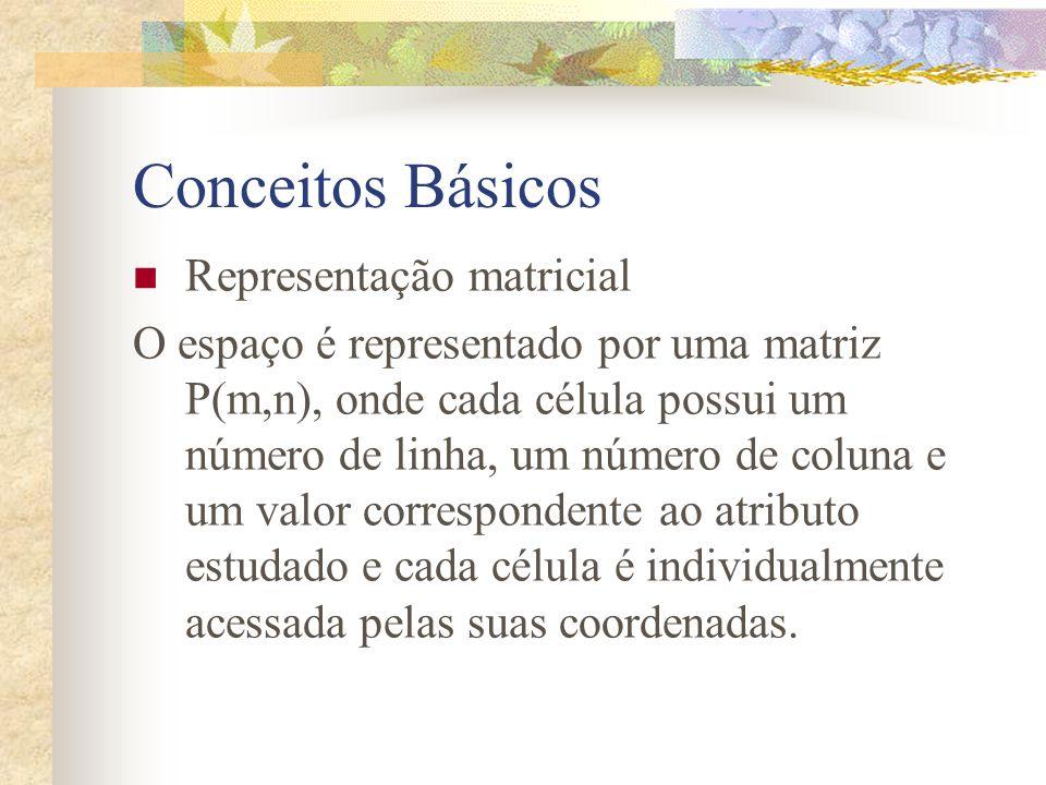 Conceitos Básicos Representação matricial O espaço é representado por uma matriz P(m,n), onde cada célula possui um número de linha, um número de colu