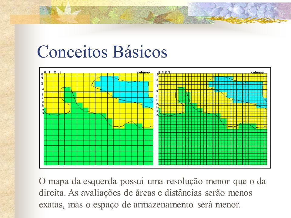 Conceitos Básicos O mapa da esquerda possui uma resolução menor que o da direita. As avaliações de áreas e distâncias serão menos exatas, mas o espaço