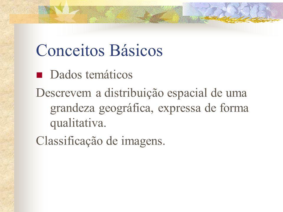 Conceitos Básicos Dados temáticos Descrevem a distribuição espacial de uma grandeza geográfica, expressa de forma qualitativa. Classificação de imagen