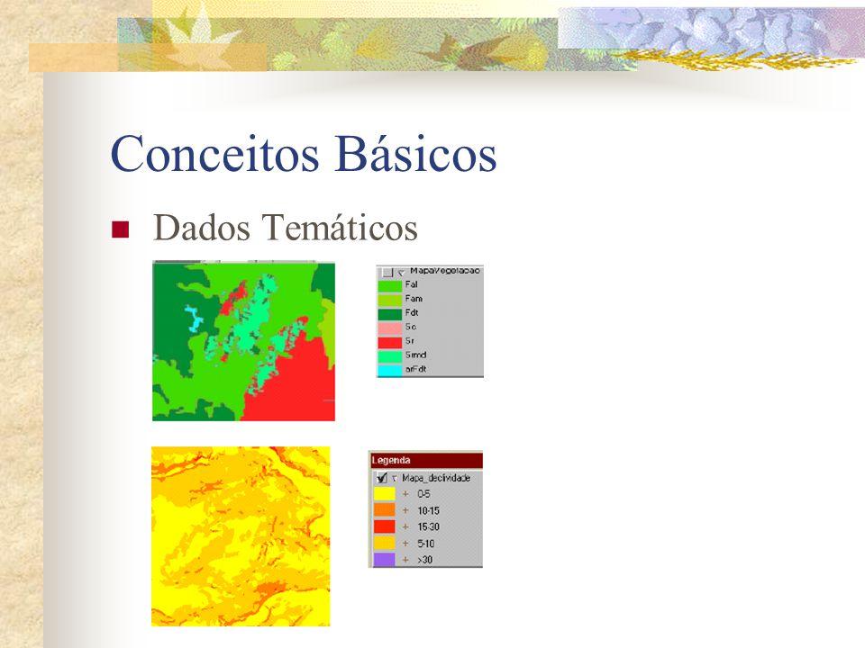 Conceitos Básicos Dados Cadastrais Distingue-se de um dado temático, pois cada um de seus elementos é um objeto geográfico, que possui atributos e pode estar associado a várias representações gráficas.