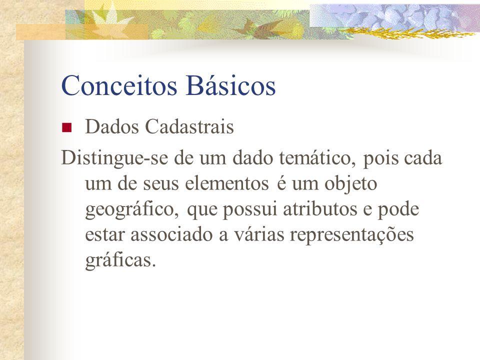 Conceitos Básicos Dados Cadastrais Distingue-se de um dado temático, pois cada um de seus elementos é um objeto geográfico, que possui atributos e pod