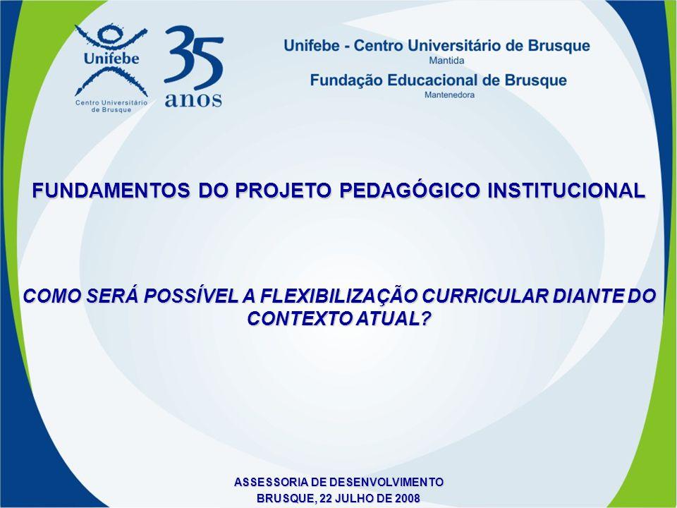 ASSESSORIA DE DESENVOLVIMENTO BRUSQUE, 22 JULHO DE 2008 COMO SERÁ POSSÍVEL A FLEXIBILIZAÇÃO CURRICULAR DIANTE DO CONTEXTO ATUAL? FUNDAMENTOS DO PROJET