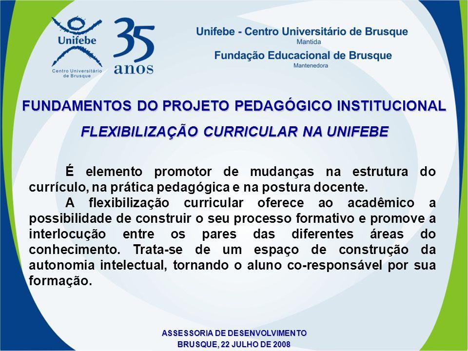 ASSESSORIA DE DESENVOLVIMENTO BRUSQUE, 22 JULHO DE 2008 FLEXIBILIZAÇÃO CURRICULAR NA UNIFEBE FUNDAMENTOS DO PROJETO PEDAGÓGICO INSTITUCIONAL É element